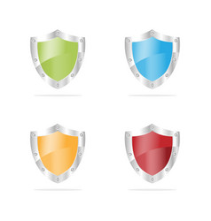 3d security shields on a white background vector