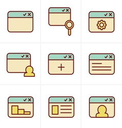 Icons style browser icon set vector