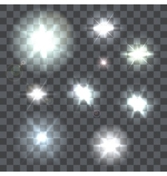 Set of lens flares beams and flashes on vector