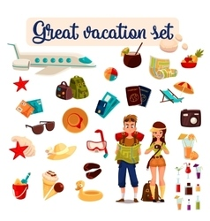 Travel icons set cartoon elements of holidays vector