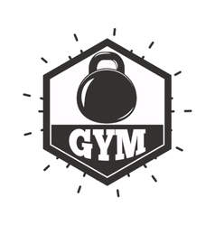 Gym fitness symbols badge vector