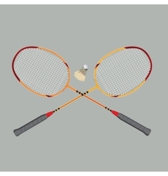 Badminton rackets and shuttlecock vector
