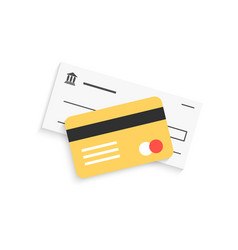 bank check and golden credit card with shadow vector image