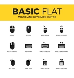Basic set of mouse and keyboard icons vector