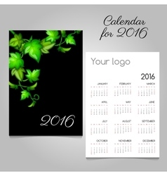 Black calendar 2016 with green leaves decoration vector