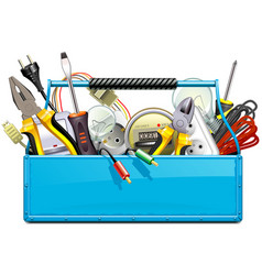 Blue toolbox with electric tools vector