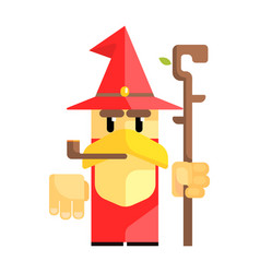 Cartoon garden gnome with smoking pipe fairy tale vector