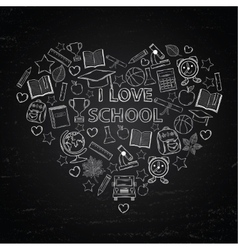 Chalk board I love school in the form of heart vector image vector image