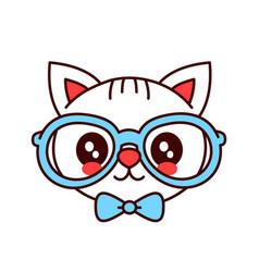 cute smiling funny hipster cat in glasses vector image vector image