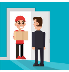 delivery to the door delivery man character vector image vector image