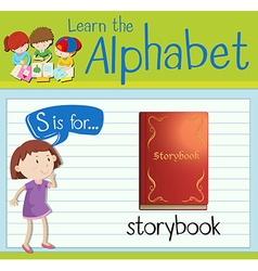 Flashcard letter s is for storybook vector