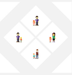 flat icon relatives set of mother boys son and vector image