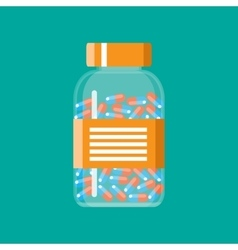 Glass container with medical pills capsules vector image vector image