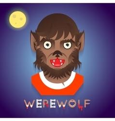 Halloween party werewolf role character bust icons vector
