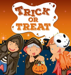 Halloween theme with kids trick or treat vector