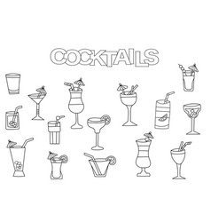 Hand drawn cocktails set coloring book template vector