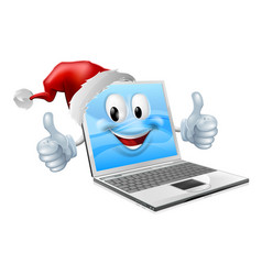 happy christmas laptop vector image vector image