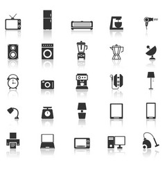 Household icons with reflect on white background vector