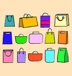 icon set of various bags baggage theme vector image