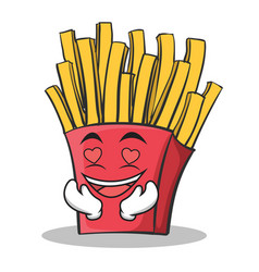 In love french fries cartoon character vector