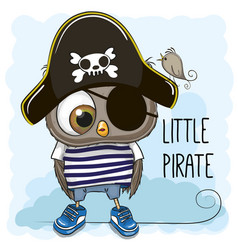 Little owl pirate vector