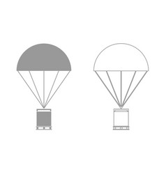 parachute with cargo set icon vector image vector image