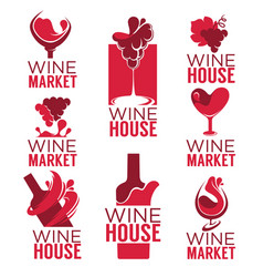 wine house red wine bottles and glasses logo vector image vector image