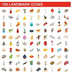 100 landmark icons set isometric 3d style vector