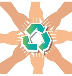 Recycle concept hand unity group vector