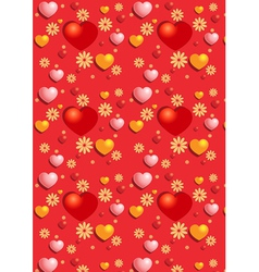 Gentle red hearts on the red seamless background vector