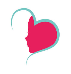 heart with female profile icon vector image