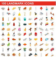 100 landmark icons set isometric 3d style vector