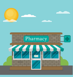 Facade of pharmacy store flat vector