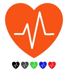 Heart ekg flat icon vector