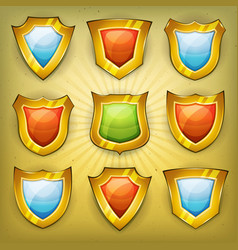 Shield security icons for ui game vector