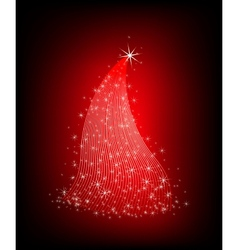 Christmas red tree with stars vector