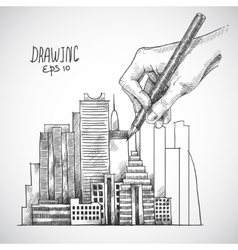 Hand drawing building vector image