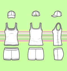 Top cap and shorts set vector