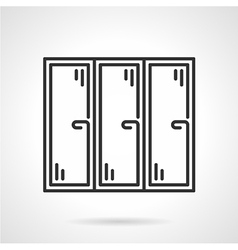 Triple window black line icon vector