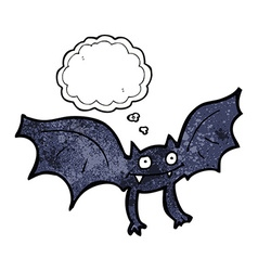 Cartoon vampire bat with thought bubble vector