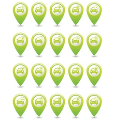 Set of 20 cars wit signs green map pointer vector