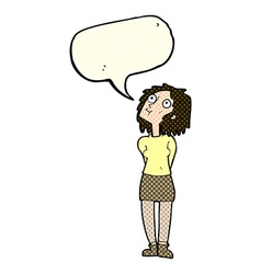 Cartoon curious woman with speech bubble vector
