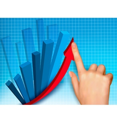 business colorful graph with hand vector image