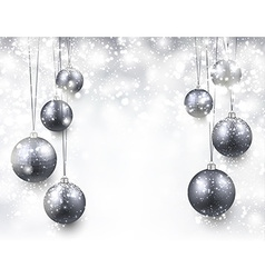 Background with silver christmas balls vector image