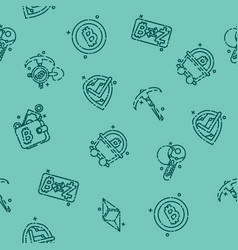 Blockchain icons pattern vector