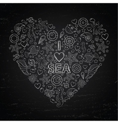 Chalk board I love Sea in the form of heart vector image vector image