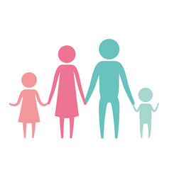 color silhouette set pictogram parents with a girl vector image