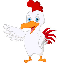 Cute chicken cartoon presenting vector