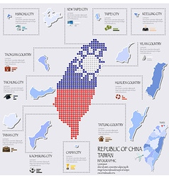 Dot And Flag Map Of Taiwan Republic Of China vector image