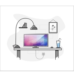 Flat creative home freelance desktop workspace vector